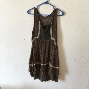 Miss me olive green lace embroidered ruffled dress